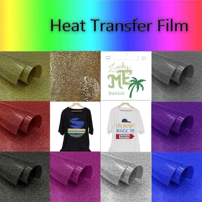 Diy glitter transferência térmica vinil htv folha de impressão adesivo permanente ferro no calor imprensa filme arte artesanato 20x50cm