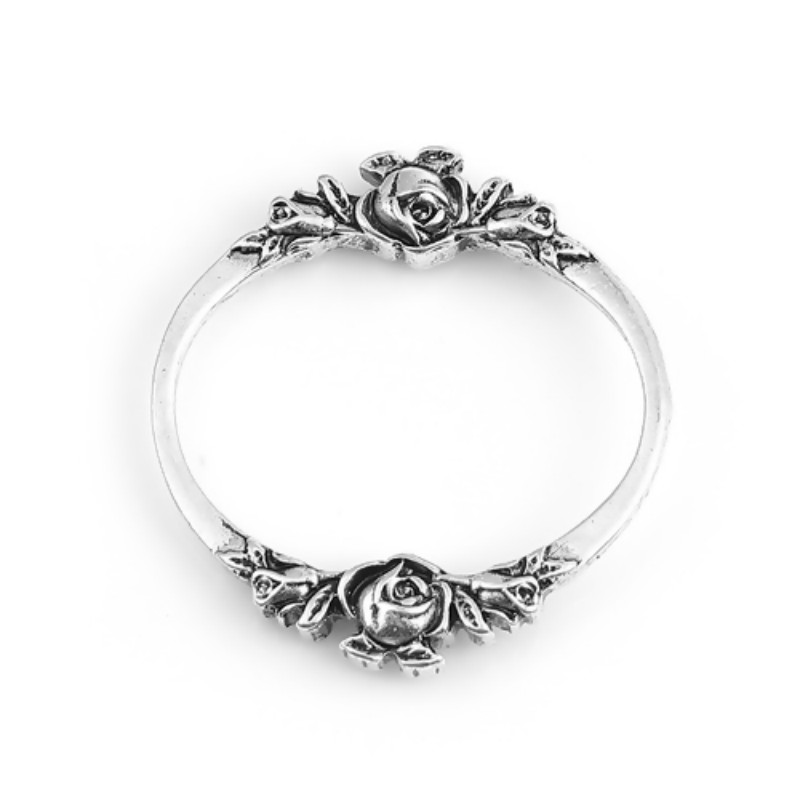 DoreenBeads Fashion Zinc Based Alloy Connectors Oval Antique Silver Color Rose Flower DIY Jewelry Findings 30mm X 28mm, 2 PCs