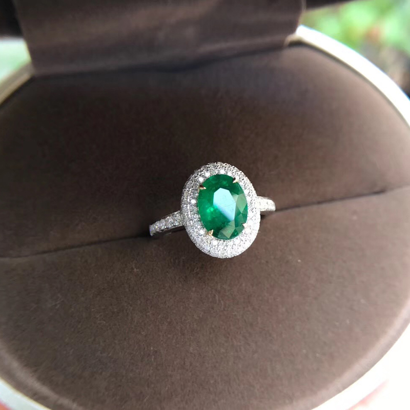 AEAW Jewelry 18K White Gold 1.7ct Natural Emerald Ring Anniversary Ring Oval Cut Green Gemstone Ring Women Jewelry