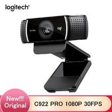 100% 오리지널 C922 PRO 웹캠 1080P 웹 30FPS 풀 HD 웹캠 자동 초점 웹 카메라 삼각대가있는 내장 마이크