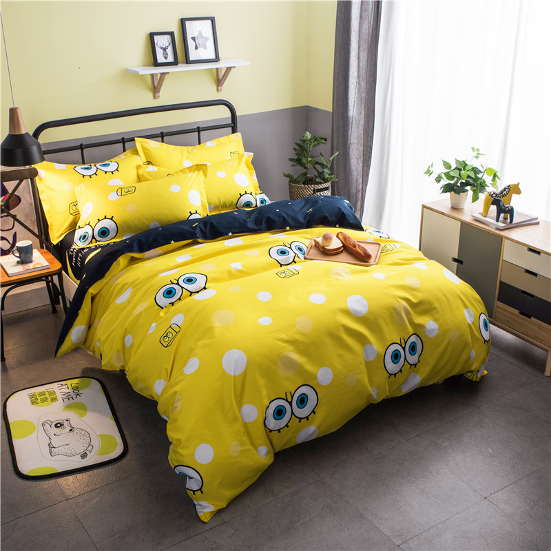 Cartoon Big Eye SpongeBob Yellow Bedding Set Cotton Bed Linens for Kids Gift 3/4pcs Duvet Cover Set with Bed Sheet Pillowcases