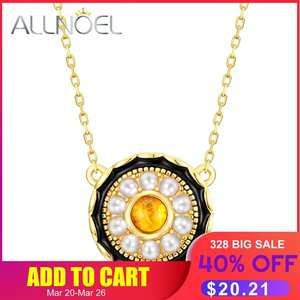ALLNOEL 925-Sterling-Silver Necklace Luxury Jewelry Diamond Gold Natural-Amber Real Vintage