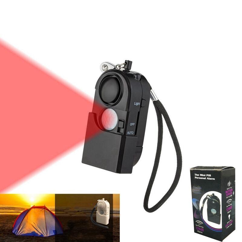 Camping Travel Portable Mini PIR Infrared Motion Sensor Detector Alarm 120dB Wireless Home Security System Anti-theft Flashlight