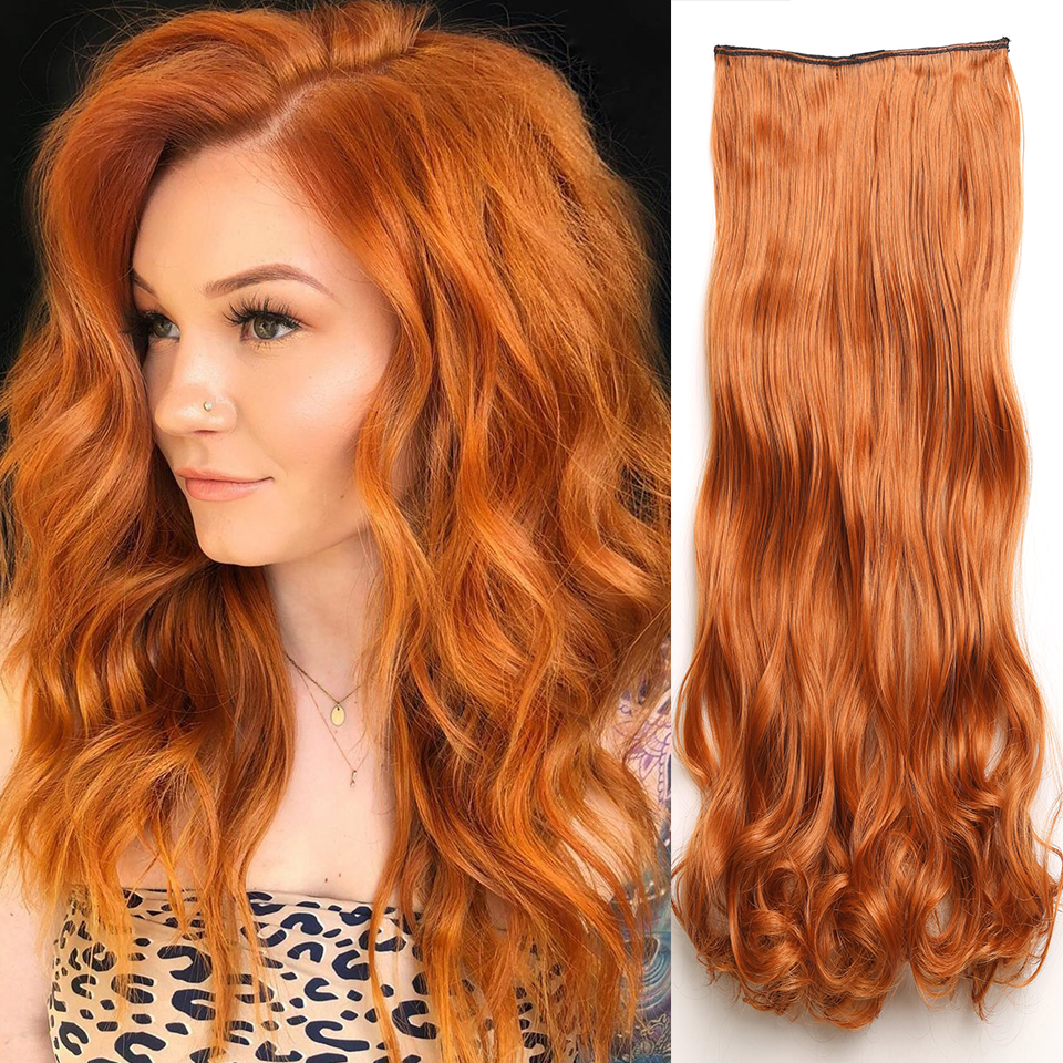 AISI HAIR Clip In Hair Extensions Light Auburn Blonde Hair Pieces Loose Wave  For Women Heat Resistant Synthetic  Fiber Party