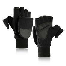 Women Men Winter Polar Fleece Half Finger Flip Gloves Double Layer Thicken Touch
