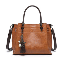 Fashion Women Strappy Shoulder Party Handbag Tassels PU Leather Hasp Large Capacity Vintage Bag Casual Ladies Bag chileelove tassels marble pattern pu leather cosmetic bag makeup brushes kit bag handbag fashion zipper bag high capacity