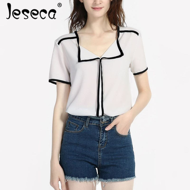 Jeseca New Women Cloth Chiffon Shirt Blouse Patchwork Female Loose Korean Short Sleeve Tops Shirt White Blouses Fit Tops