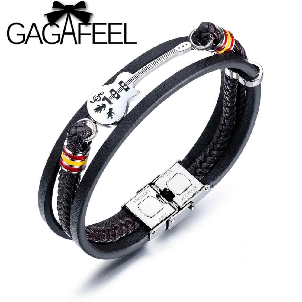GAGAFEEL Stainless Steel Guitar Bracelets Punk Braided Rope Bangle Personalized Leather Bracelet for Men Gifts