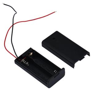 MOSUNX 2 x AA 3V Battery Holder Connector Storage Case Box ON/OFF Switch With Lead Wire Futural Digital Plastic