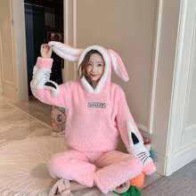 New Autumn And Winter Pajamas Ladies Adult Cute Cartoon Animal Warm Comfortable Hooded Rabbit Home Set