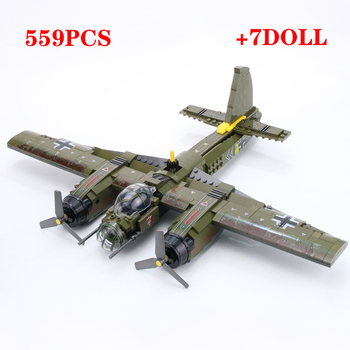 WW2 Military German Ju-88 bombing plane Building Block Paratroopers Soldiers Figures weapon parts bricks Toys for children
