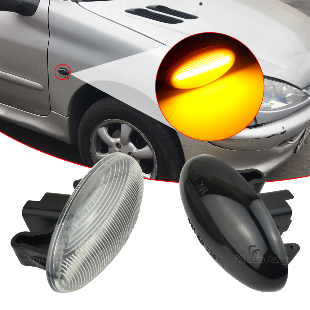 2x LED Dynamic Turn Signal Side Marker Light For Peugeot 1007 107 108 206 207 301 307 407 <font><b>4007</b></font> 607 Partner Expert Traveller image