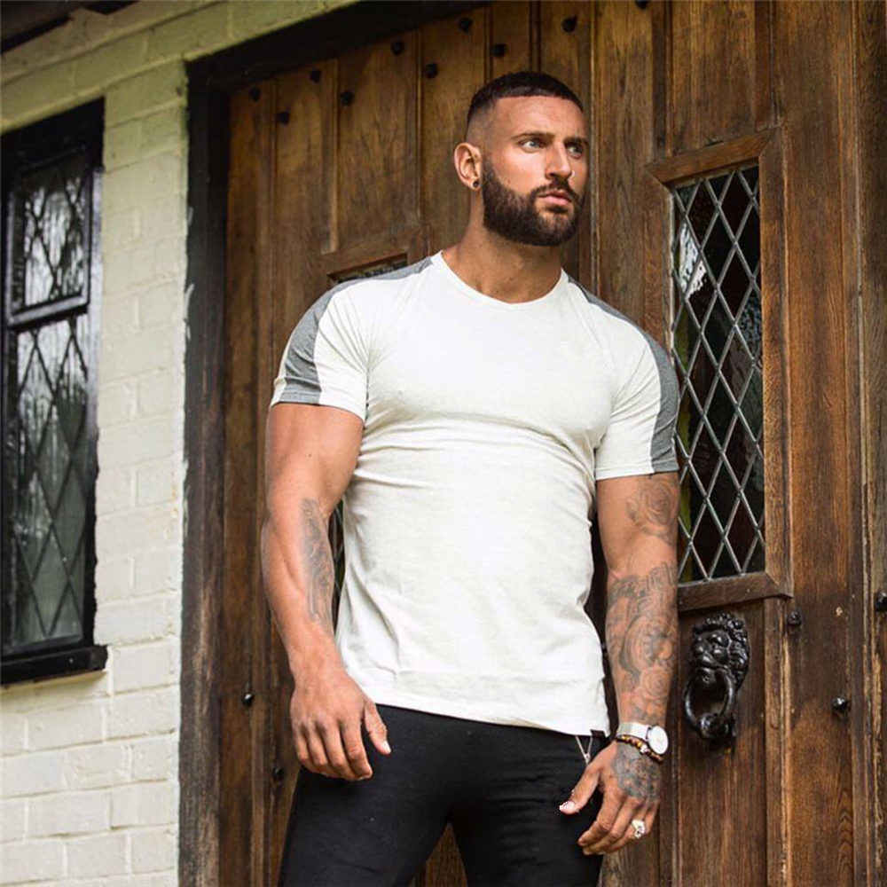 블랙 체육관 tshirt 남성 러닝 스포츠 티셔츠 휘트니스 보디 빌딩 코튼 슬림 티 셔츠 탑스 여름 남성 조깅 훈련 의류
