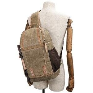 Image 1 - Płótno temblak skórzany Messenger torba na aparat profesjonalna torba do przechowywania DSLR wytrzymały wodoodporny i odporny na rozdarcia plecak