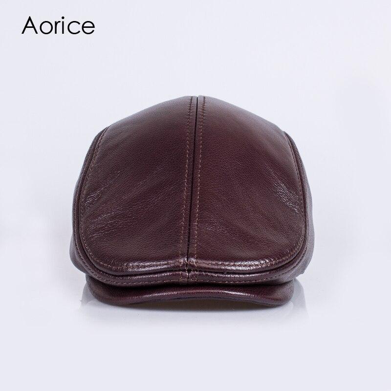 HL042-3  genuine leather men berets cap brand new baseball cap/hat fashion mens real adult striped adjustable hats caps