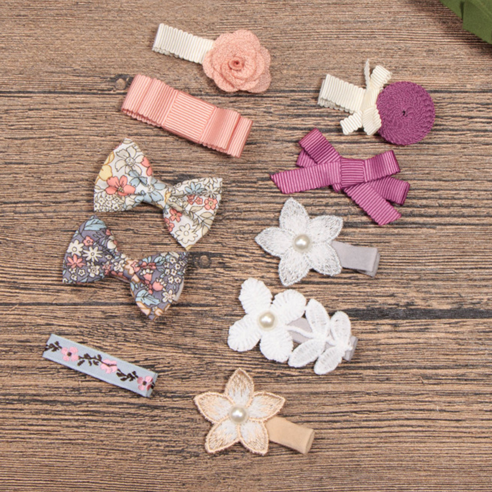 Children Hair Clips Multiple Styles 10 Colors Lace Flower Bow-knot Hairclip Baby Barrettes BB Clip Little Girls Gifts