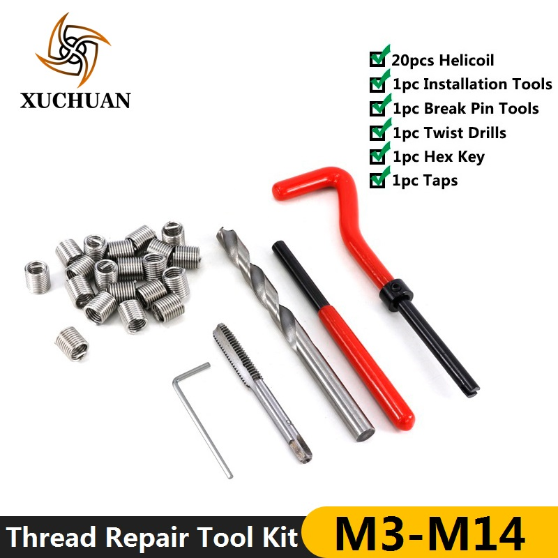25pcs Thread Repair Tool Kit M3/M4/M5/M6/M7/M8/M10/M12/M14 For Restoring Damaged Threads Spanner Wrench  Thread Repair Bit Kit