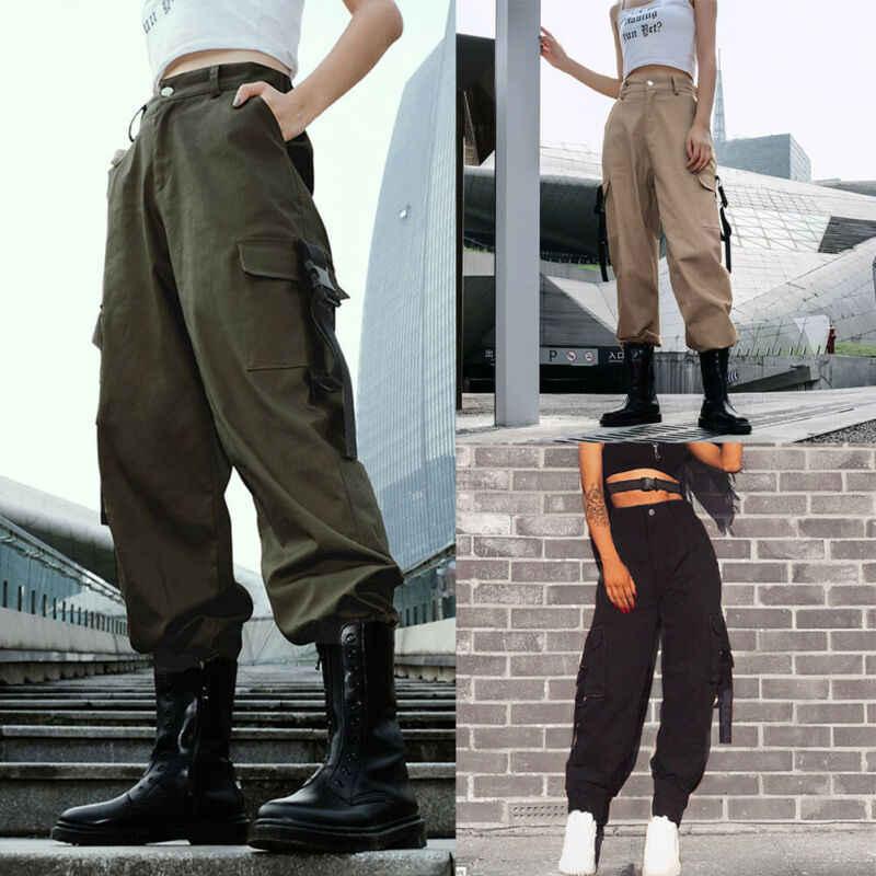 Donne casual A Vita Alta Esercito di Sport Allentati Pantaloni Lunghi Hip Hop Danza Militare di Combattimento del Camuffamento Da Jogging Trekking Pantaloni Jeans Nuovo