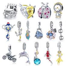 WOSTU 925 Sterling Silver Boy & Girls Charm Coffee Ladybug Beads Fit DIY Original Bracelet Pendants Jewelry Flamingo Bee Charms