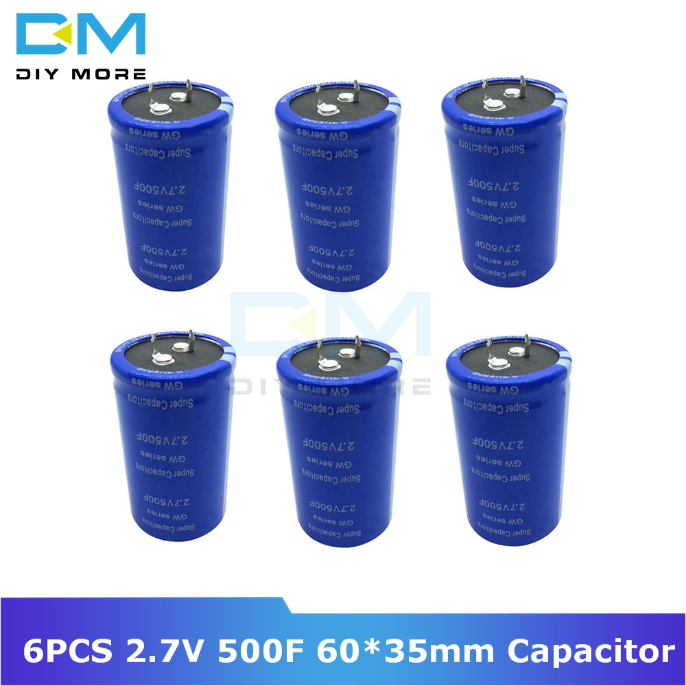 6PCS Super Farad Capacitor 2.7V 500F 60*35mm Vehicle Rectifier Low ESR Capacitor Ultracapacitor 60x35mm 60x35 High Frequency