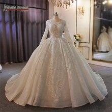 Robe de mariée blanche à manches longues, pleine perles, 2020