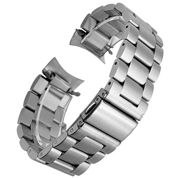 Premium Stainless Steel Watchband for Samsung Galaxy Watch 46mm SM-R800 Sports Band Curved End Strap Wrist Bracelet Silver Black