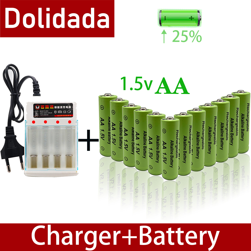 Batería alcalina AA de 3800mah y 1,5 V, batería recargable AA para Control remoto de juguete, con cargador alarma de humo, nueva marca de 100%