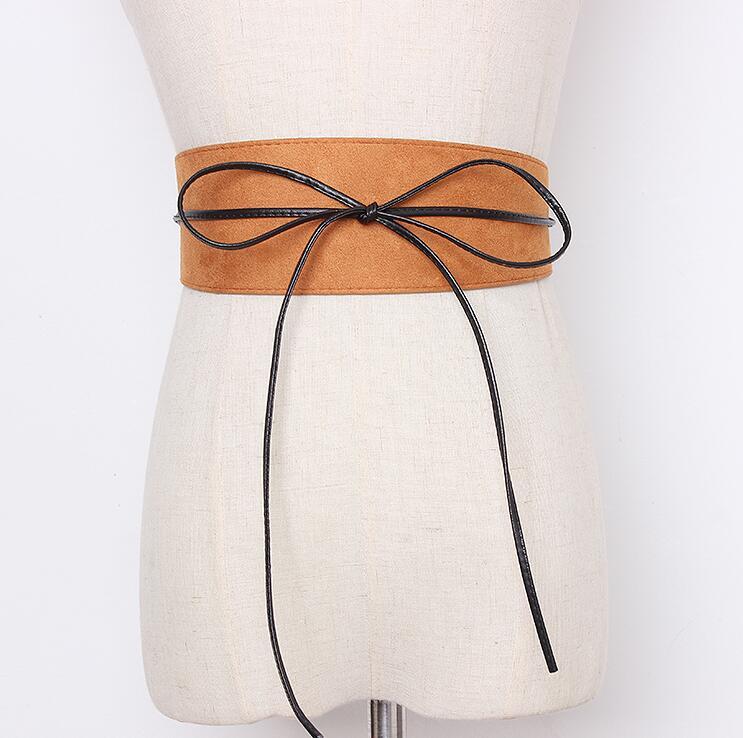 Women's Runway Fashion Faux Suede Leather Cummerbunds Female Dress Coat Corsets Waistband Belts Decoration Wide Belt R2183