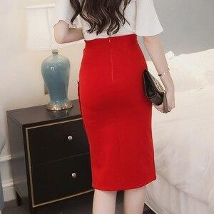 Image 4 - Plus Size 2020 Fashion Women Work Midi Skirt OL Sexy Open Slit Button Slim Pencil Skirt Elegant Office Ladies Skirts Red Black