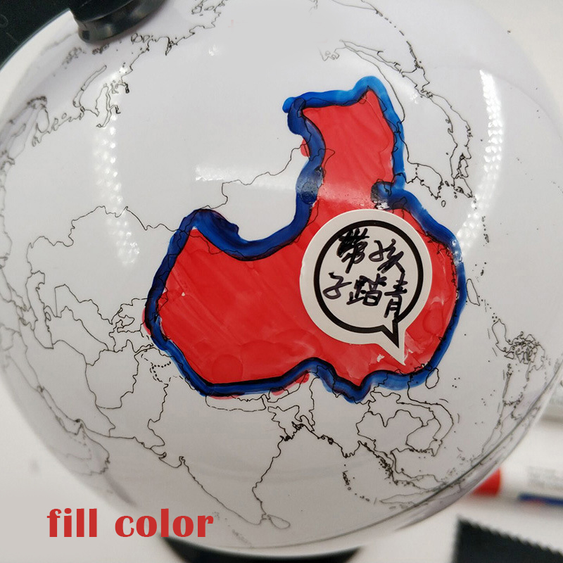 Paintable and Erasable Globe Model Plastic Erasing World Map Drawing Tellurian DIY Teaching Implement with 4 Brush New A