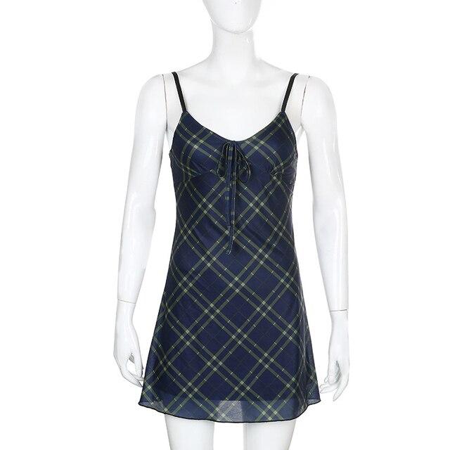 ALLNeon E-для девочек на рост от 90s спагетти ремень повязки спереди оборками в клетку для маленьких девочек в винтажном стиле; Из сетчатой ткани, с треугольным вырезом, с открытой спиной мини-платье А-силуэта из Partywear 5