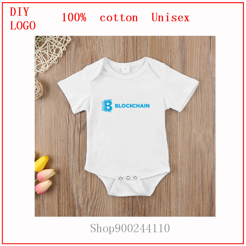 cute clothes for toddler girls boys bitcoin Blockchain-blue Newborn Baby Summer Short Sleeve Bodysuits baby Casual Baby Playsuit 1