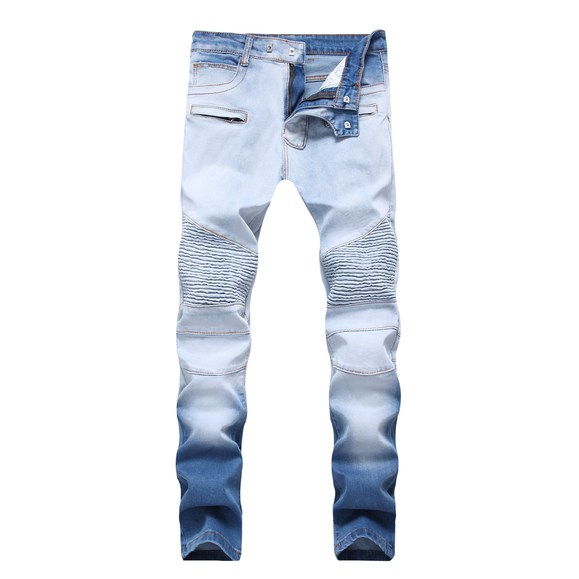 New Style Men'S Wear North America High Street Slim Fit Elasticity On Color Changing Jeans Da Tiao Zipper Double Color Faded Tro