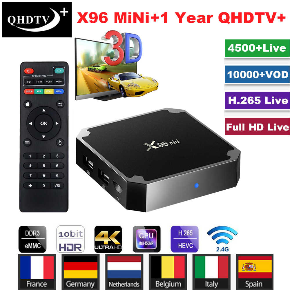 Android 7.1 X96 Mini TV BOX with 1 Year QHDTV+ IPTV Subscription Smart Set Top Box Amlogic S905W 2.4GHz WiFi 4K HD Media Player