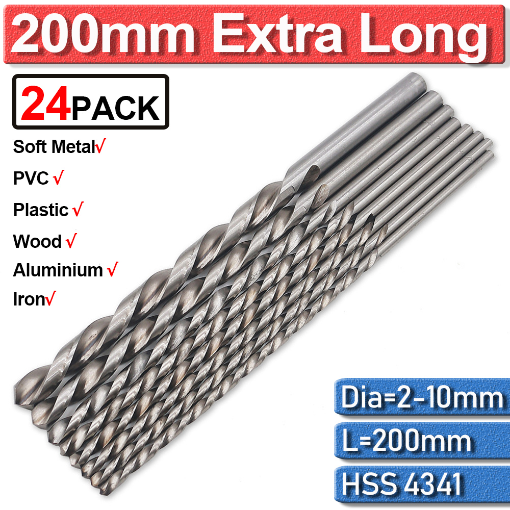 200mm Extra Long Drill Bit HSS 4Pc For Metal Drilling High Speed Steel 2/3/4/5/6/7/8/9/10mm Twist Drill Bits Accessories D30