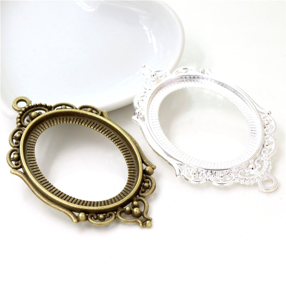 New Fashion 5pcs 30x40mm Inner Size Antique Bronze And Bright Silver Plated Pierced Style Cabochon Base Setting Charms Pendant