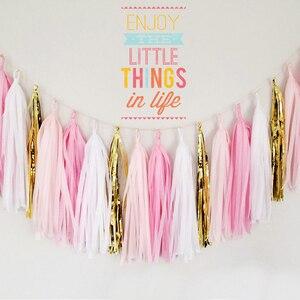 Image 4 - 1 takım düğün bebek gelin doğum günü partisi dekor bej gül altın pembe doku kağıt DIY püskül Garland kiti kağıt zanaat malzemeleri