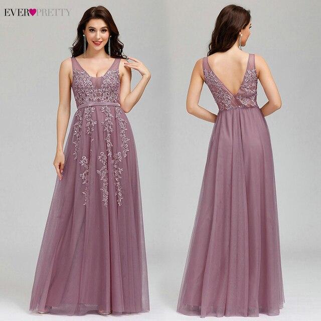 Prom Dresses Long 2020 Ever Pretty Elegant Long V-neck Tulle Lace Applique Sleeveless A-line Hot Selling Vestidos De Graduacion 1