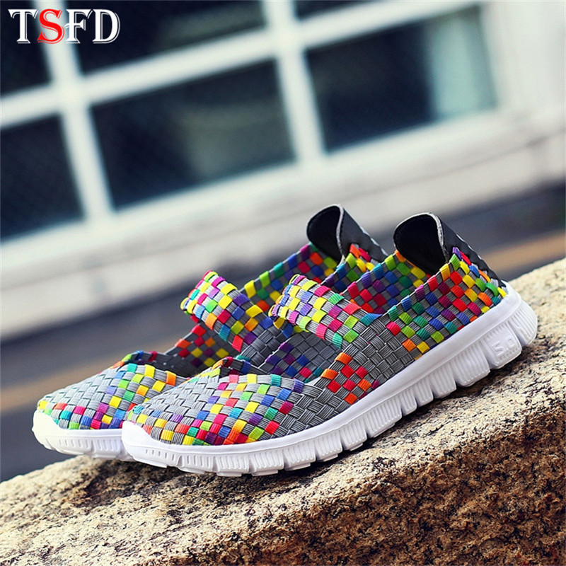 Ultralight Women's Sports Shoes 2020 Womens Sneakers Breathable Sport Shoes For Women Woven Sports Shoes Women Slip-on Shoes C16