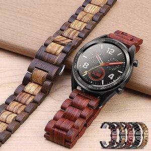Image 3 - 20 22Mm Hout Horloge Band Voor Huawei Horloge Gt/Galaxy 42/46Mm Roestvrij Stalen Gesp Riem vervanging Armband Voor Gear S3 S2