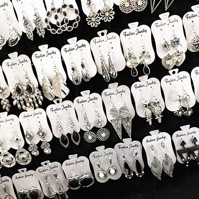 Wholesale 30 Pairs Women's Retro Antique Silver Plated Drop Earrings Jewelry Party Gifts Mix Styles