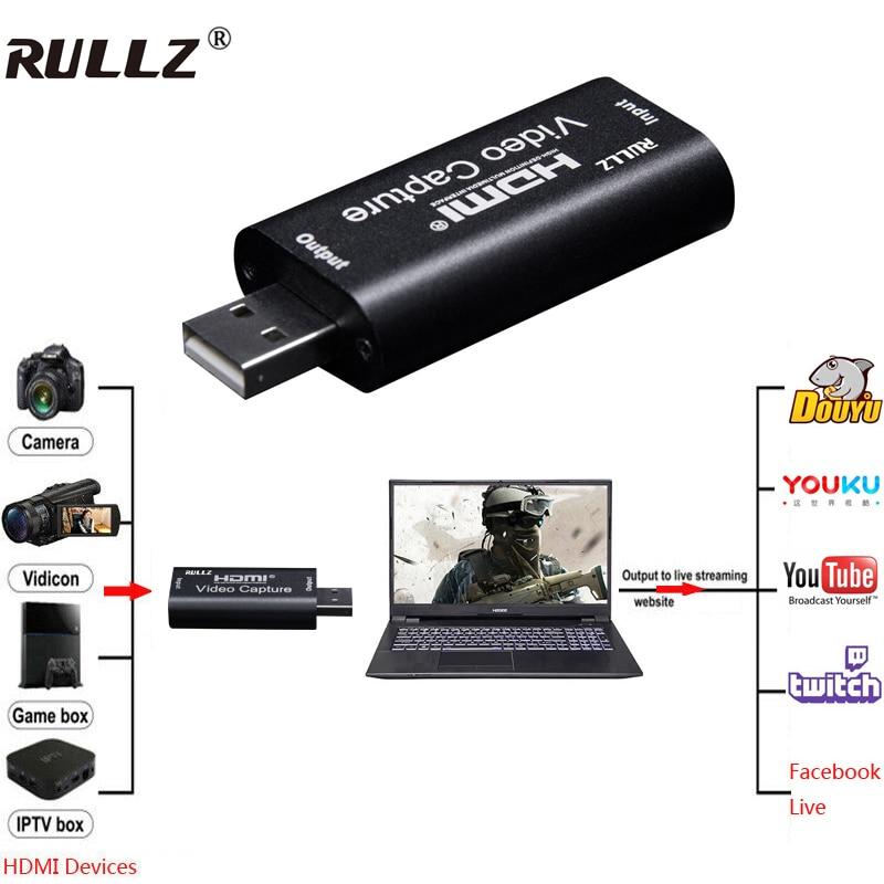 Rullz Mini Video Capture Card USB 2.0 HDMI Video Capture Grabber Phone Game HD Camera Capture Recording Box + PC Live Streaming