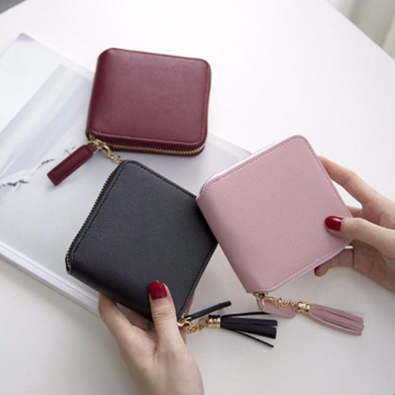 5.86US $ 40% OFF Hot Sale Wallet Short Wallet Pu Women's Purse Zipper&button Purse Red Small Wallet ...