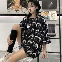 Elegant Korean Style T-Shirts Women Loose Short Sleeve O Neck Graphic Print tshirt Ladies T
