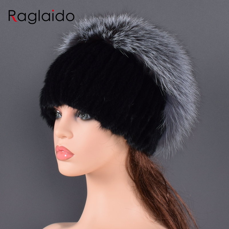New Knitted Mink Fur Hats For Women Styles Female Women Winter Fox Fur Cap Headwear Girls Hats For Beanies With Woolen Lining