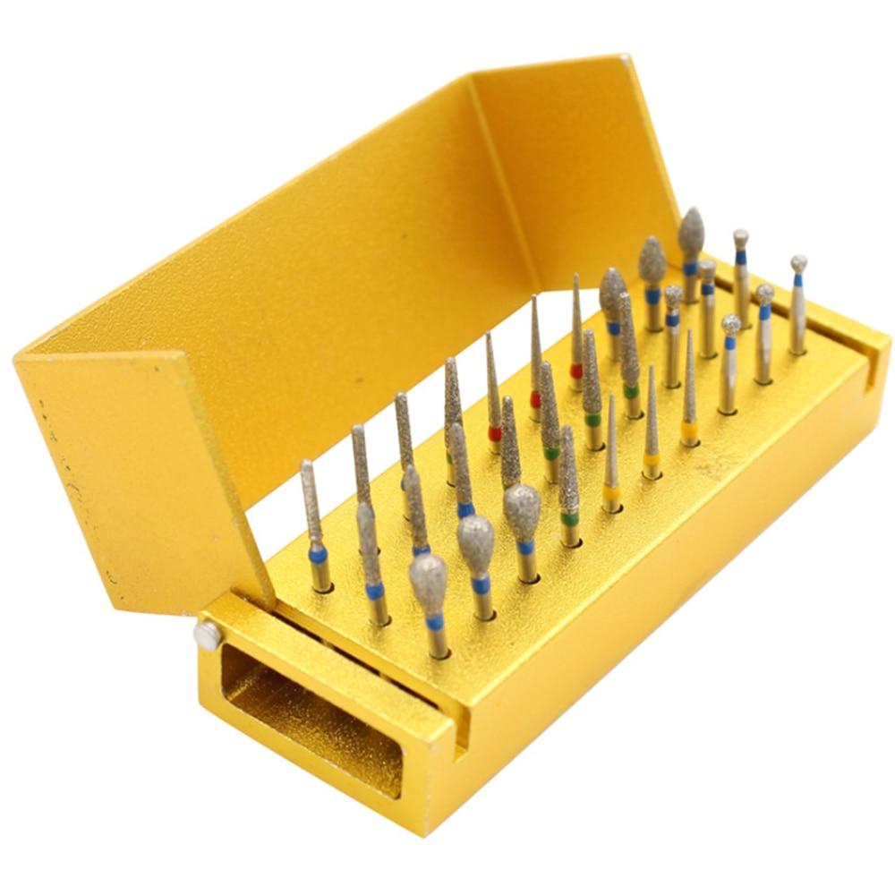 30 Pcs/Set Dental Diamond Burs Drill Disinfection+Block High Speed Handpiece Holder Alumimum Instrument For Teeth Whitening