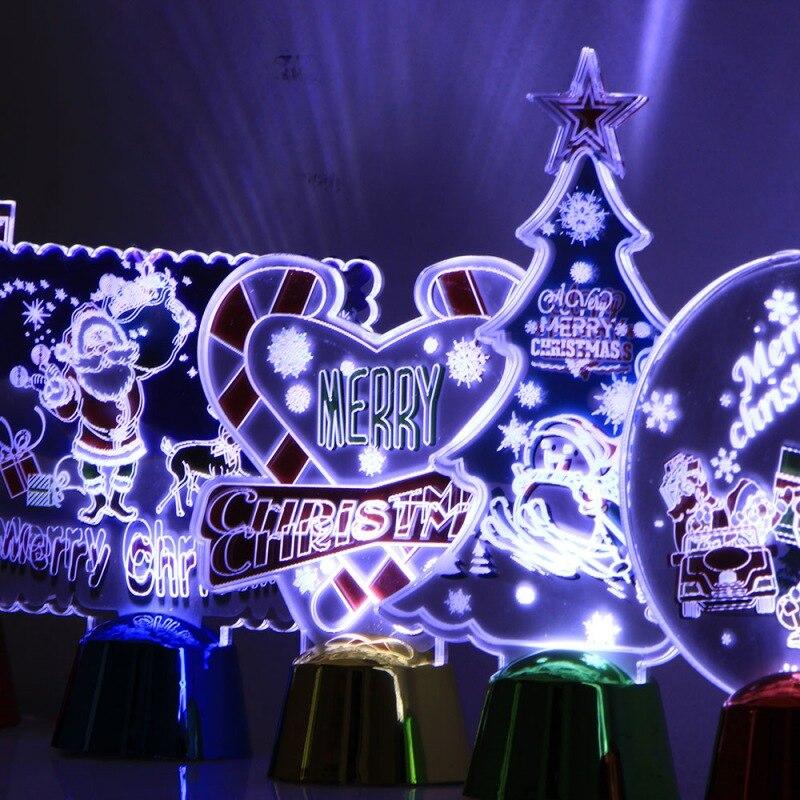 Colorido 3D luz de la noche de dibujos animados Navidad lámpara LED decoraciones de Navidad para el hogar regalo de Año Nuevo bola de cristal brillante - 6