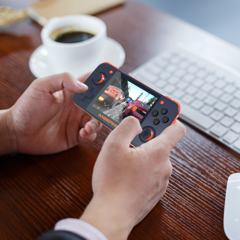 ANBERNIC nuevo juego Retro RG350 consola de videojuegos portátil MINI 64 Bit 3,5 pulgadas pantalla IPS 16G + 32G TF jugador de juegos RG 350 PS1 - 2