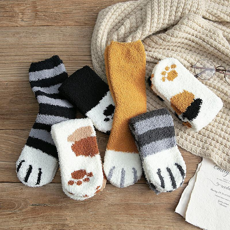New Women Girls Cute Cat Claws Socks Soft Floor Sleep Socks Winter Thick Warm Sleeping Floor Sleep Socks Fleece