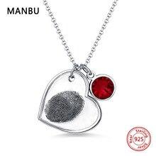 цены на Personalized Fingerprint sterling silver Necklace with birthstone engraved Name Heart Pendant Necklace for women Valentines gift  в интернет-магазинах